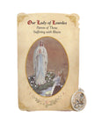 Holy Card St. Lourdes with Illness Healing Medal Set - 6 Pcs. Per Package