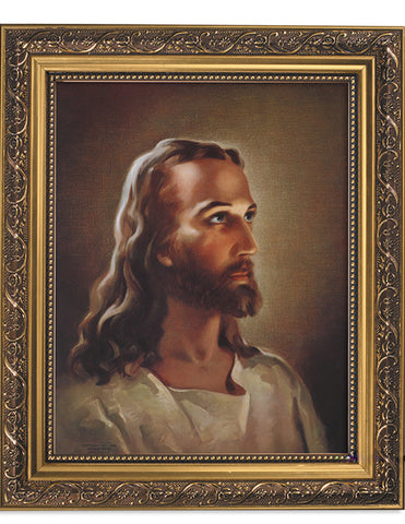 Sallman: Head Of Christ Ornate Gold Finish Frame