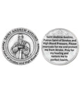 St Andrew Avelino Token - Pocket Silver Tone Italian Prayer Token