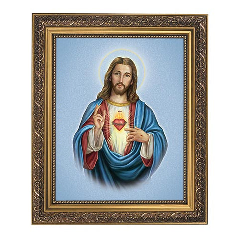 Sacred Heart Of Jesus Framed Print in Gold Tone
