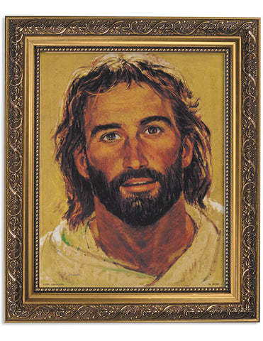 Head Of Christ Ornate Gold Finish Frame