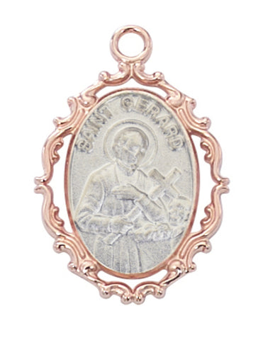 St. Gerard Medal Rose Gold Over Plated Sterling Silver with 18 inch Gold Plated Brass Chain