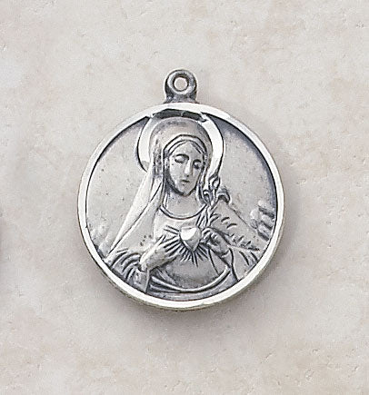 "Sterling Immaculate Heart Patron Saint Medal w/ 18"" L Chain"