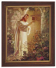 Sallman: Christ At Hearts Door Woodtone Finish Frame