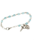 4mm Glass Beads Sterling Silver Celtic Cross Aqua Bracelet and Miraculous Medal
