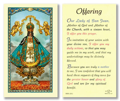 Laminated Holy Card Our Lady Of San Juan - 25 Pcs. Per Package
