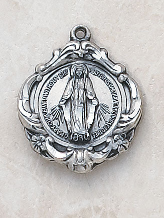 "Silver Miraculous Medal w/ 18"" Chain"