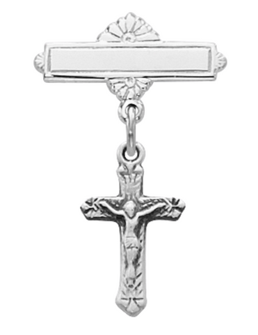 Sterling Silver Crucifix Baby Bar Pin in an Elegant Burgundy Flip Gift Box
