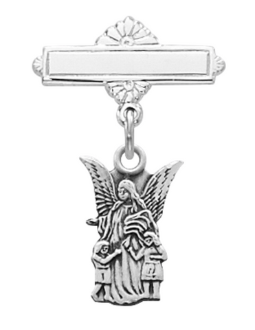Sterling Silver Guardian Angel Medal Baby Bar Pin in an Elegant Burgundy Flip Gift Box