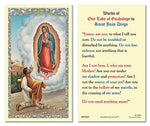 Laminated Holy Card St. Juan Diego - 25 Pcs. Per Package
