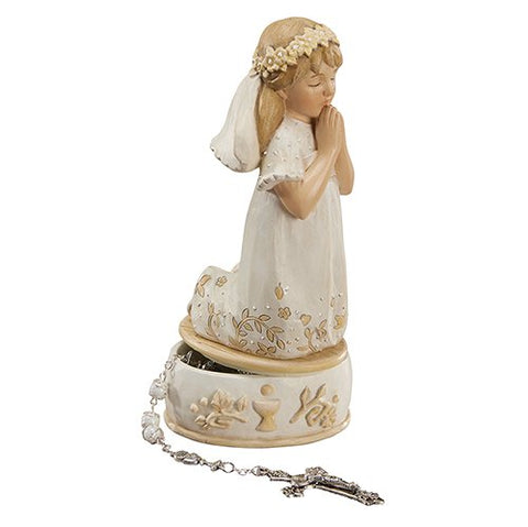 "6"" First Communion Keepsake Box - Girl with Gift Box"