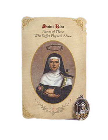 Holy Card St. Rita with Abuse Healing Medal Set - 6 Pcs. Per Package