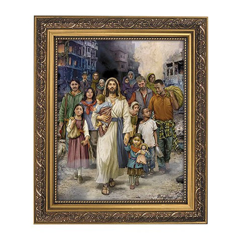 Welcome The Stranger Framed Print in Ornate Gold Finish