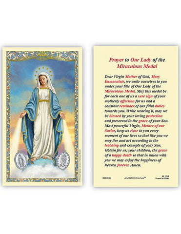 Laminated Holy Card Our Lady Of Grace Miraculous Medal - 25 Pcs. Per Package