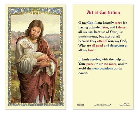 Laminated Holy Card Christ The Good Shepherd Act of Contrition - 25 Pcs. Per Package