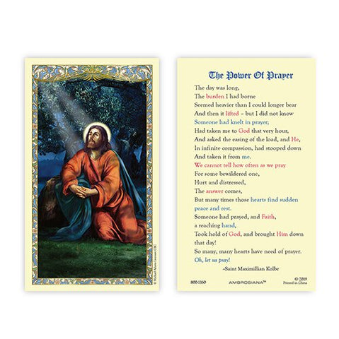 Laminated Holy Card Jesus Christ in the Garden - 25 Pcs. Per Package