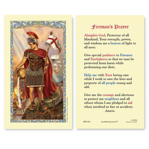Laminated Holy Card St. Florian - 25 Pcs. Per Package