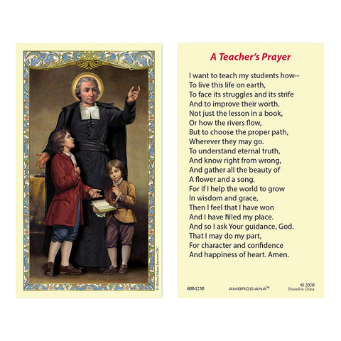 Laminated Holy Card St. John The Baptist De La Salle - 25 Pcs. Per Package