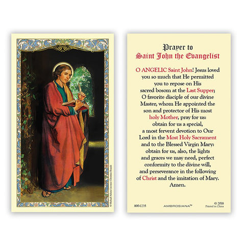 Laminated Holy Card St. John The Evangelist - 25 Pcs. Per Package