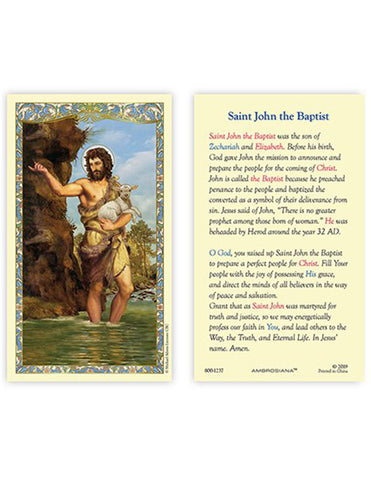 Laminated Holy Card St. John The Baptist - 25 Pcs. Per Package
