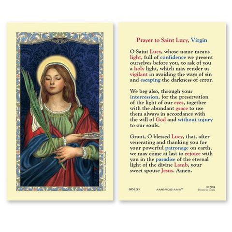 Laminated Holy Card St. Lucy - 25 Pcs. Per Package
