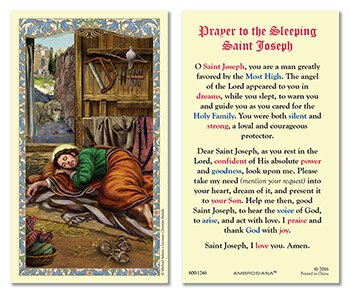 Laminated Holy Card Sleeping St. Joseph - 25 Pcs. Per Package