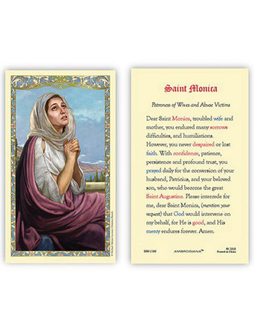 Laminated Holy Card St Monica - 25 Pcs. Per Package