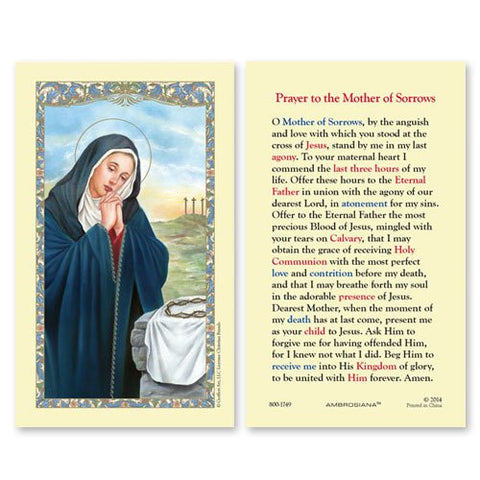 Laminated Holy Card Our Lady Of Sorrows - 25 Pcs. Per Package