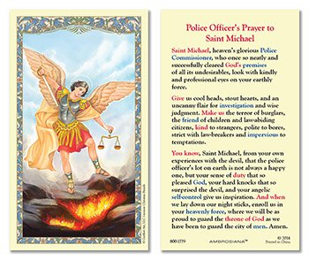 Laminated Holy Card St. Michael Police Officer's Prayer - 25 Pcs. Per Package