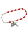 4mm Glass Beads Sterling Silver Crucifix Ruby Bracelet and Miraculous Medal