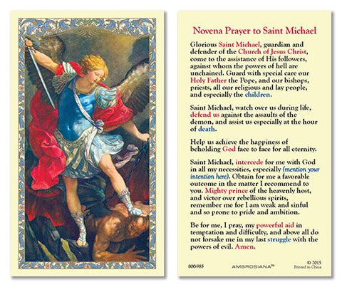 Laminated Holy Card St. Michael with Novena Prayer - 25 Pcs. Per Package