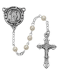 Pewter Crucifix and Engravable Guardian Angel Center Pearl Rosary
