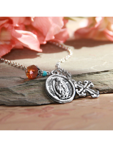 Our Lady of Guadalupe Necklace that features a Crystal and Cross Drop a perfect Catholic Religious gift to your sister mother family and friends for their birthday Christmas or any occasion