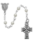 Celtic Crucifix and Miraculous Medal Center with 5mm Pearl Rosary