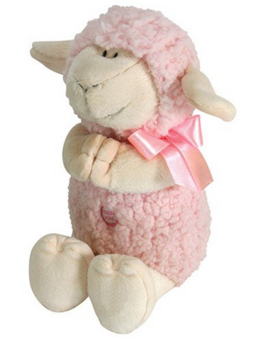 "11"" Pink Praying Lamb Musical Cuddle Buddy made from sherpa polyester plush perfect for birthday baptism or any occasion gifts or token for baby girl or boy toddler and younger kids"