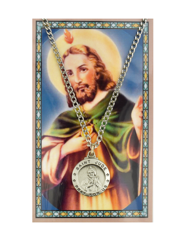 "St. Jude Medal Necklace made from Pewter with a 24"" Silvertone Chain compes with a Prayer Card a perfect collection or a gift to your parents family or friends during their birthdays holidays or any occasion"