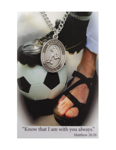 "St. Christopher Boys Soccer Necklace made from pewter and an 24"" silver tone chain with a laminated prayer card perfect gift to boys who loves sports to your brother family and friends for birthdays or any occasion"
