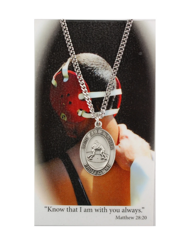"St. Christopher Boys Wrestling Necklace made from pewter and a 24"" silvertone chain with a laminated prayer card perfect gift to boys who loves sports to your brother family and friends for birthdays or any occasion"
