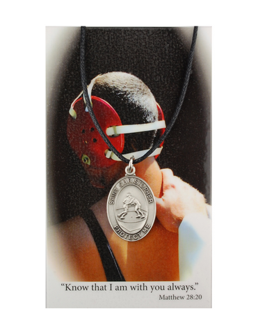 St. Christopher Boys Wrestling Necklace made from pewter and an adjuistable cord with a laminated prayer card perfect gift to boys who loves sports to your brother family and friends for birthdays or any occasion
