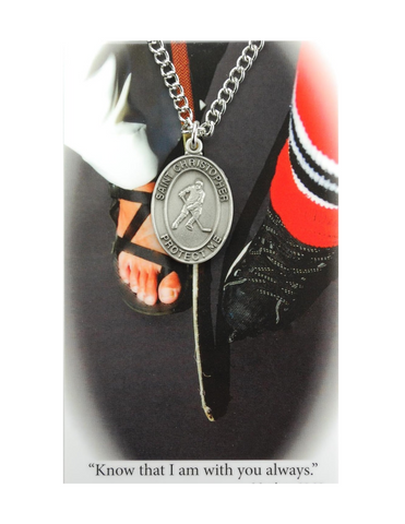 "St. Christopher Boys Hockey Necklace made from pewter and a 24"" Silver tone chain with a laminated prayer card perfect gift to boys who loves sports to your brother family and friends for birthdays or any occasion"