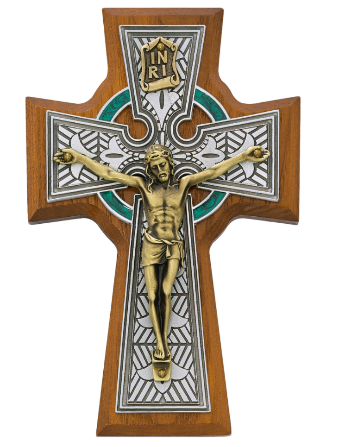 "5 1/2"" Figurine Celtic Cross made from Made from walnut stained wood and green enameled pewter perfect for your home or a gift to someone special on any occasion"