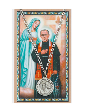 "St. Maximilian Medal Necklace made from Pewter with an 24"" Silver-tone chain and Prayer Card a perfect gift to your brother sister family or friends for their Birthday Christmas Holidays or any occasion"