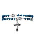 Blue Crystal Rosary Twistable Rosary Bracelet Necklace Dove Holy Spirit Crucifix Silver Jesus Christ Catholic Gift