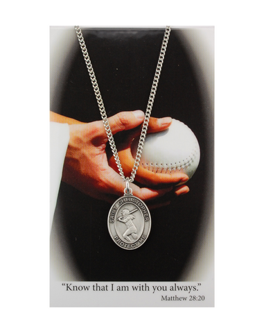 "St. Christopher Girls Softball Necklace made from pewter and a 18"" silvertone chain with a laminated prayer card perfect gift to girls who loves sports to your sister family and friends for birthdays or any occasion"
