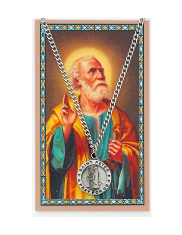"St. Peter Medal Necklace made from Pewter with an 24"" Silver-tone chain and Prayer Card a perfect gift to your brother sister family or friends for their Birthday Christmas Holidays or any occasion"