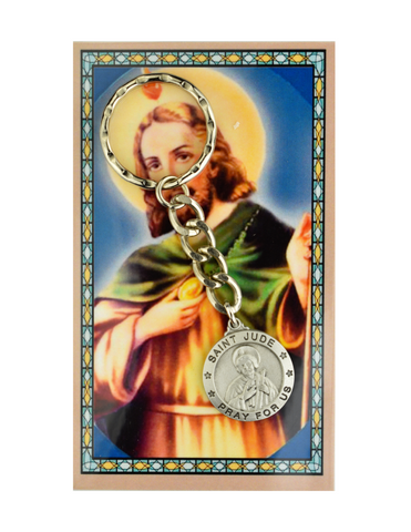 St. Jude Keyring Holder made from pewter with a prayer guide card perfect gift to your family and friends for their birthdays or any occasion and celebration