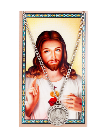 Sacred Heart of Jesus Medal Necklace Chain with Prayer Card