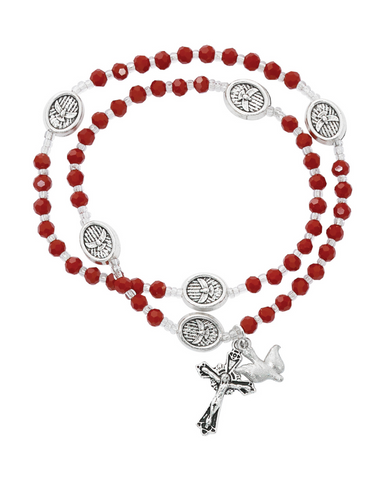 Red Crystal Rosary Twistable Rosary Bracelet Necklace Dove Holy Spirit Crucifix Silver Jesus Christ Catholic Gift