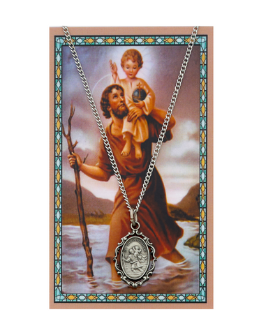 "St. Christopher Medal Necklace made from Pewter with an 18"" Silver-tone chain and Prayer Card a perfect gift to your brother sister family or friends for their Birthday Christmas Holidays or any occasion"