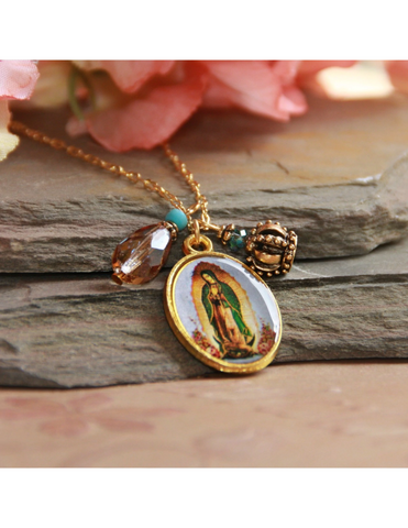 Our Lady of Guadalupe Necklace that features a Crystal Drop and Crown Charm a perfect Catholic Religious gift to your sister mother family and friends for their birthday Christmas or any occasion